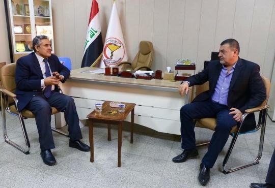 استقبل السيد نقيب الاطباء وعدد من اعضاء مجلس النقابة في مقرها العام السيد آراس حبيب كريم الأمين ألعام للمؤتمر الوطني العراقي